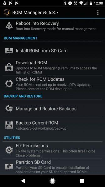 برنامه ROM Manager