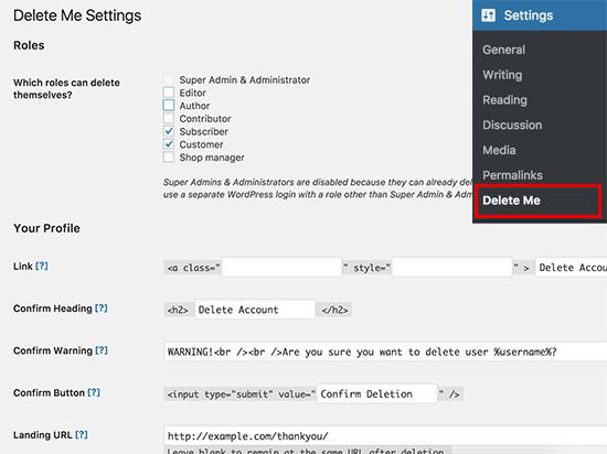 حذف حساب کاربری توسط خود کاربر در وردپرس