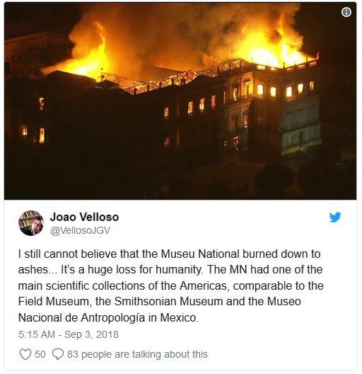 آتش سوزی موزه تاریخ طبیعی برزیل