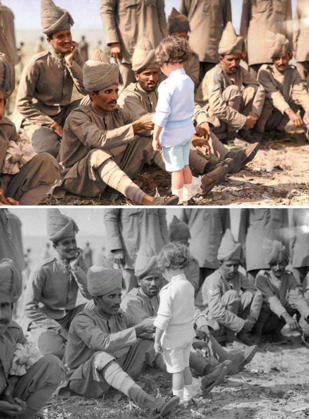 کودک فرانسوی در کنار سربازان هند
