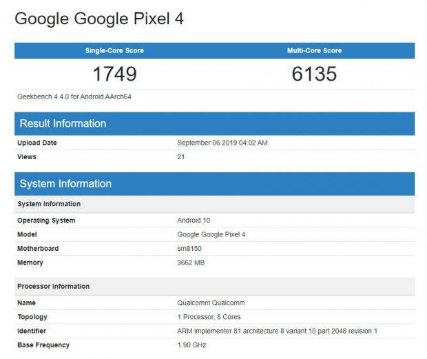 بنچمارک گوگل پیکسل 4