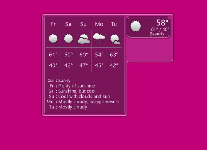 ویجت هواشناسی برای ویندوز