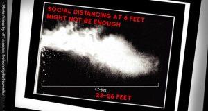 عطسه کرونا فضایی بسیار بیشتر از فاصله استاندارد 2 متر را آلوده میکند! + ویدیو