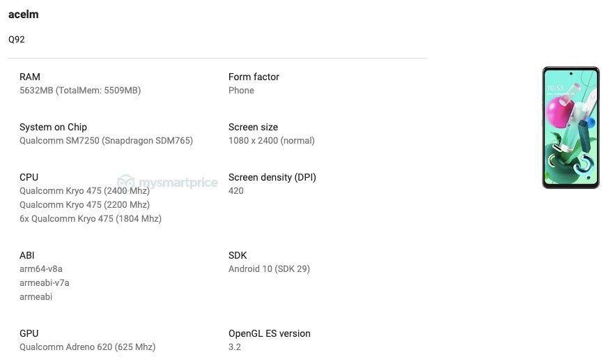 مشخصات گوشی LG Q92 5G