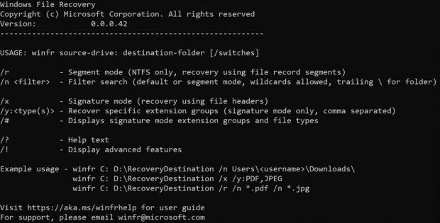 نرم افزار Windows File Recovery