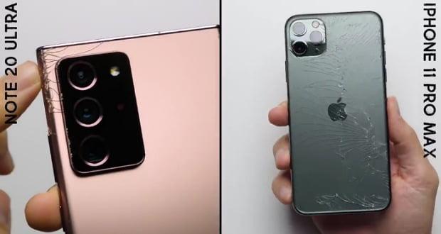تست مقاومت گوشی گلکسی نوت 20 اولترا - Galaxy Note 20 Ultra را در درمقابل آیفون 11 پرو مکس