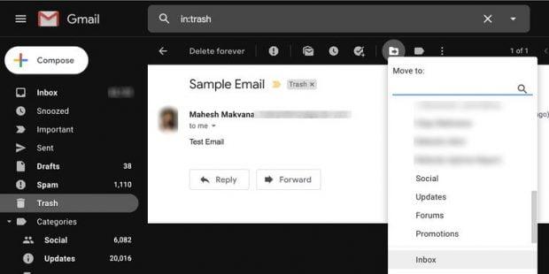 بازیابی ایمیل های حذف شده از جیمیل