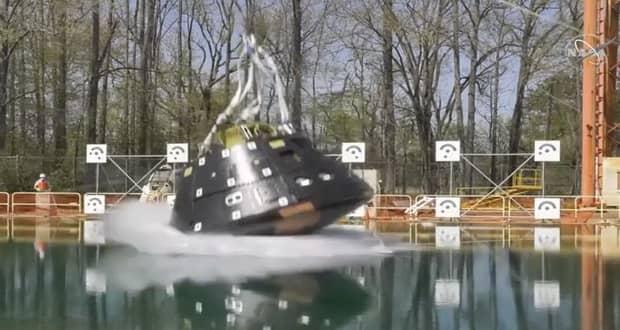 آزمایش سقوط فضاپیمای سرنشین دار اوریون ناسا در یک استخر پیشرفته + ویدیو