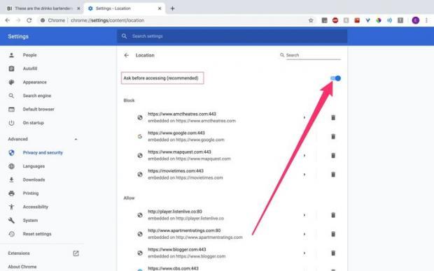تنظیمات موقعیت مکانی در گوگل کروم
