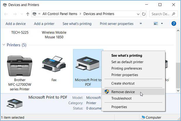 حل مشکل ابزار Microsoft Print to PDF در ویندوز
